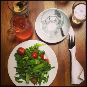 Asparagus, pea and tomato salad with balsamic dressing. Strawberry infused Green iced tea.