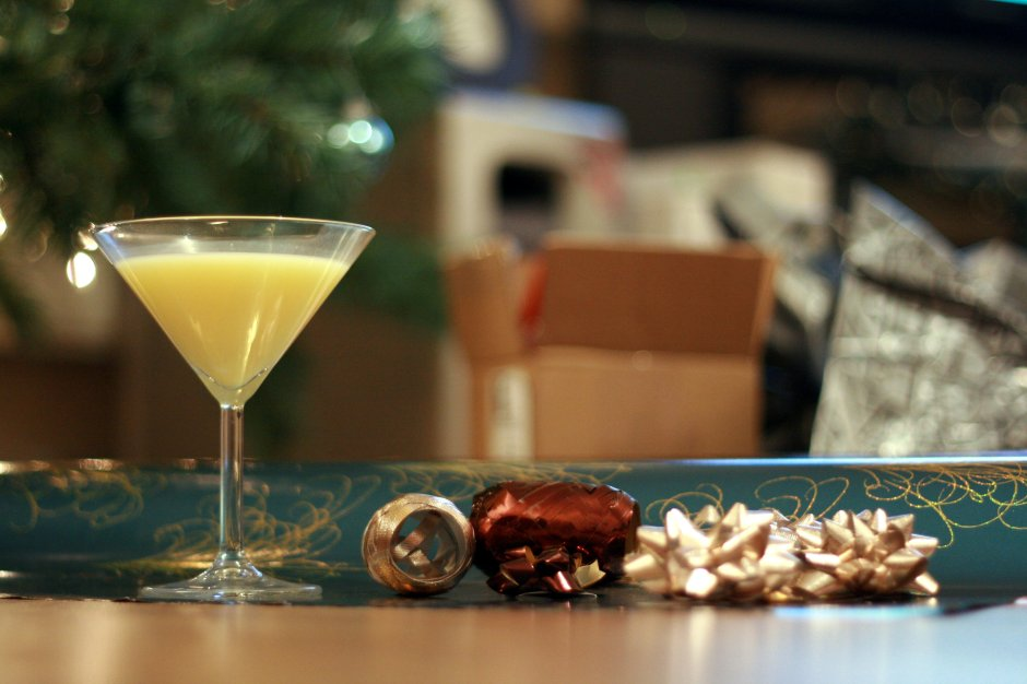 gift wrap and snowball cocktail