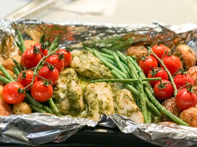 roasted pesto chicken and vegetables