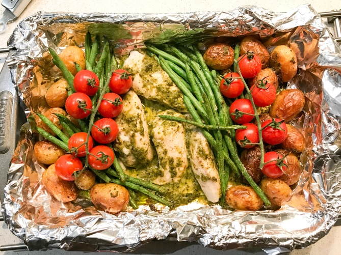 roasted pesto chicken and vegetabl